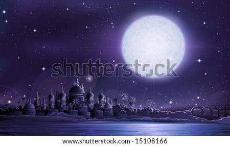 Ancient city under full moon (other landscapes are in my gallery) - stock vector