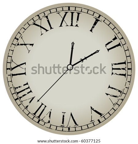 ancient clock against white background, abstract vector art illustration - stock vector