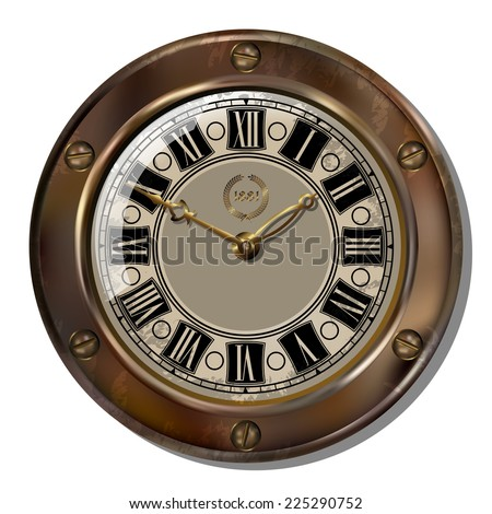 Ancient clock in the style of steampunk - stock vector