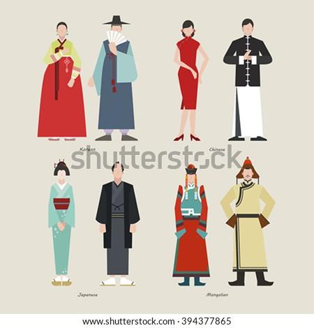 Ancient Clothing Korean Chinese Japanese Mongolian Stock ...