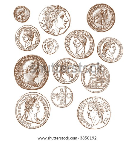 Ancient coins - stock vector