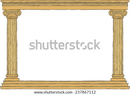 Ancient colonnade on a white background vector illustration - stock vector