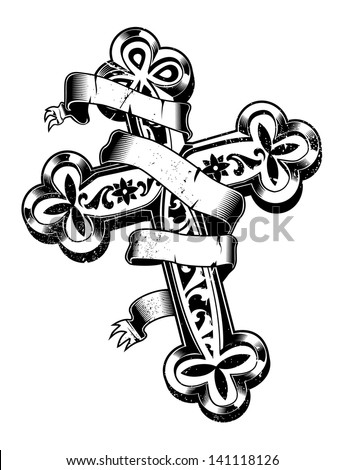 ancient cross with ribbon around - stock vector