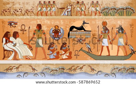 Ancient egypt scene mythology egyptian gods stock vector 587869652 ancient egypt scene mythology egyptian gods and pharaohs hieroglyphic carvings on the exterior publicscrutiny Image collections