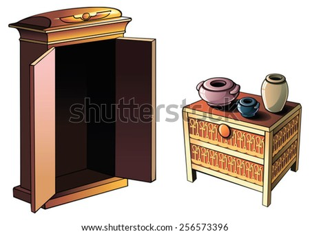Ancient Egyptian furniture and pottery, vector illustration - stock vector