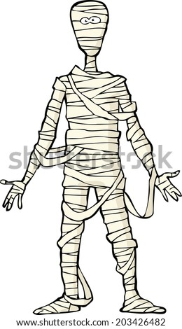 Ancient Egyptian mummy on white background vector illustration - stock vector