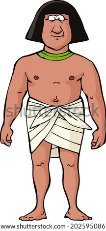 Ancient Egyptian slave on a white background vector illustration - stock vector