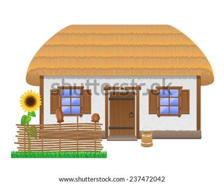 ancient farmhouse with a thatched roof vector illustration isolated on white background - stock vector