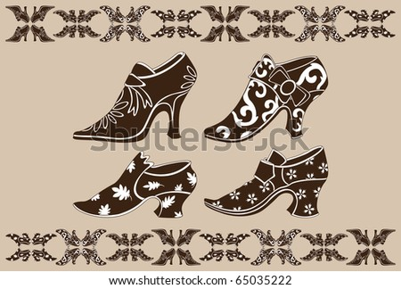 Ancient female shoes. Vector file. - stock vector