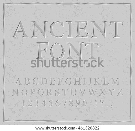 Ancient Font Carved On Stone Plate Alphabet Prehistoric ABC Antique Set Of Letters