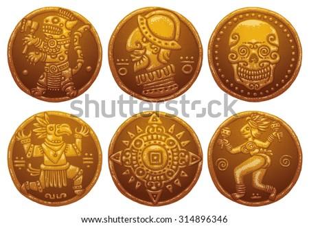 Ancient Gold Coins, set, vector - stock vector