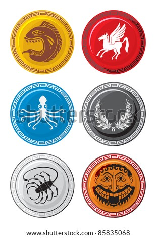 Ancient Greece, shields of warriors with monsters, vector - stock vector