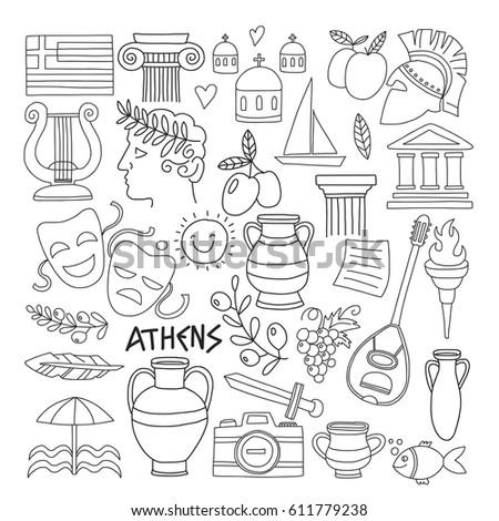 ancient greece vector elements in doodle style for coloring pages travel history music