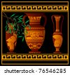 ancient greek amphora and jugs. vector illustration - stock photo