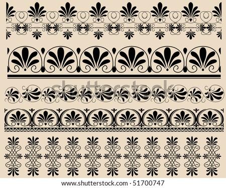 Ancient Greek ornament set for design stock image