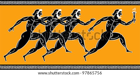 Ancient greek runners with torch - stock vector