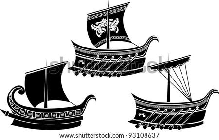 Ancient Greek ship set. stencil - stock vector