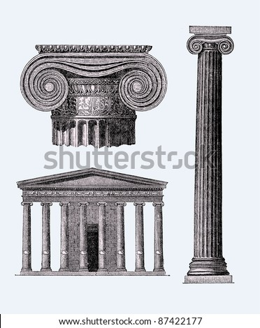 Ancient Greek temple illustration, Source image, The Life of the Greeks and Romans by E.Guhl, published 1876 - stock vector