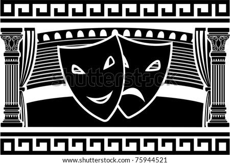 ancient greek theatre. stencil. vector illustration - stock vector