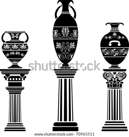 Ancient Greek vase on column. stencil set - stock vector