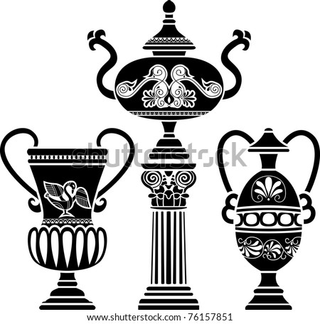Ancient Greek vase on column. stencil set third variant - stock vector