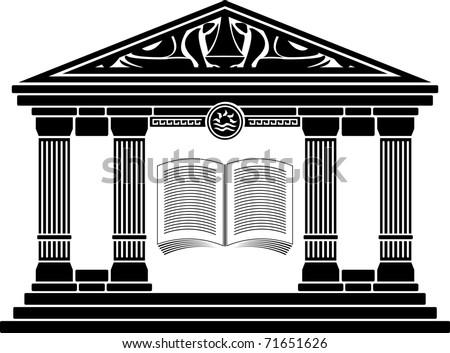 ancient hellenic school. stencil. vector illustration - stock vector