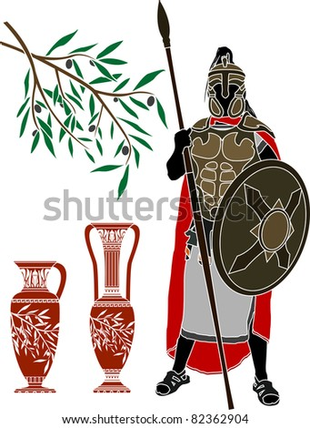 ancient hellenic warrior and jugs. stencil. vector illustration - stock vector