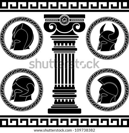 ancient helmets. stencil. vector illustration - stock vector
