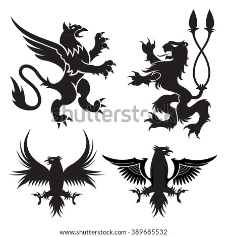 Ancient heraldic griffins symbols of black majestic beasts with body of lion, angel wings and eagle heads. For heraldic design or tattoo - stock vector
