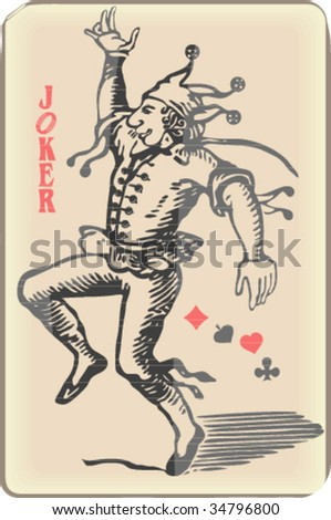 Ancient joker play card - stock vector