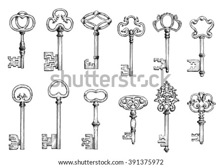 Ancient keys vintage engraving sketches with ornamental forged bows, adorned by victorian flourishes, curlicues and twirls. Maybe used as tattoo, medieval embellishment design or safety themes