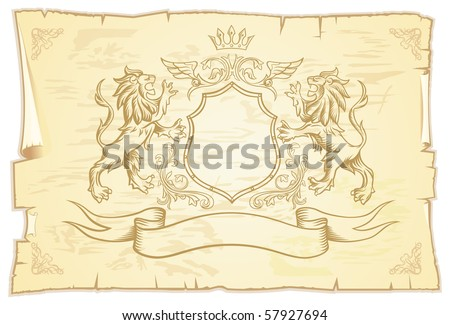 Ancient Lions Scroll - stock vector