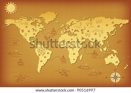 ancient map of the world with simbols