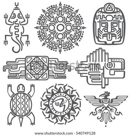 Ancient Mexican Vector Mythology Symbols American Stockvector