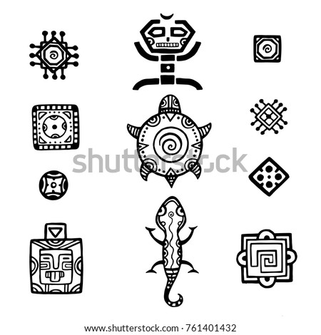 Ancient Mexican Vector Mythology Symbols American Stock Vector Hd
