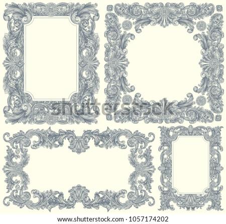 Ancient Ornate Frames Design Set Hand Stock Vector 1057174202 ...