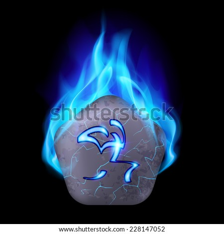 Ancient pentagonal stone with magic rune in blue flame