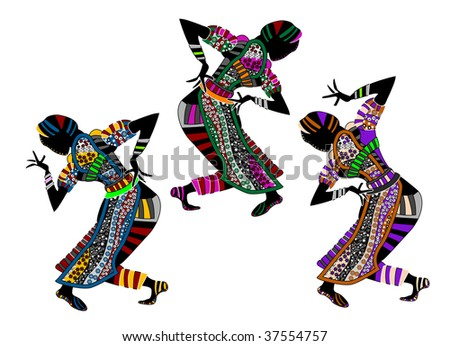 ancient people in ethnic dresses perform their dance - stock vector