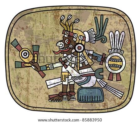 ancient petroglyph depicting a man - stock vector