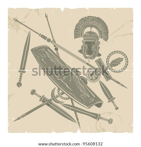 Ancient Rome-weapons and old paper 1, vector