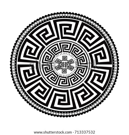 Ancient round ornament. Vector isolated black meander pattern on the white background. Antique mandala with greek key ornaments. Ornamental design. Graphic decor. Geometric abstract ornate texture.