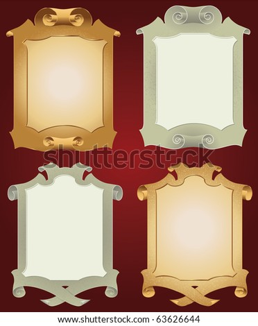 Ancient scrolls of gold for festive and luxury decoration - stock vector