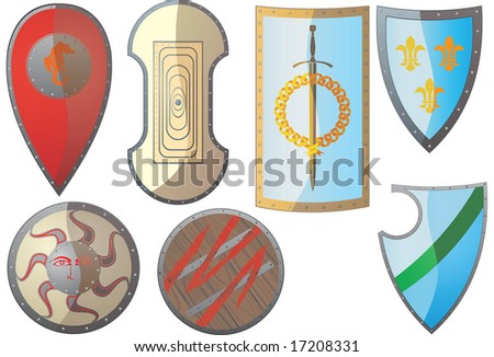 Ancient Shields. Russian, Greek, Roman, barbaric, knights and other - stock vector