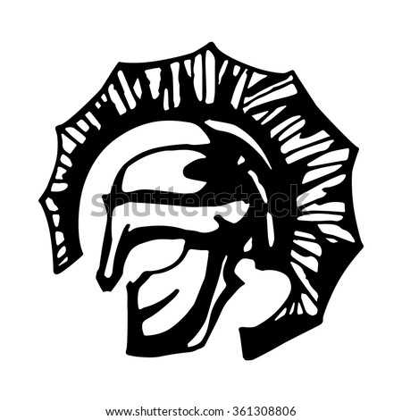 Ancient spartan gladiator flat logo depicting a bronze Roman or Greek helmet as worn by the soldiers in the legions during combat with a long face visor for protection and red crest