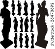 Ancient Statue Of Woman Silhouettes Vector - stock photo