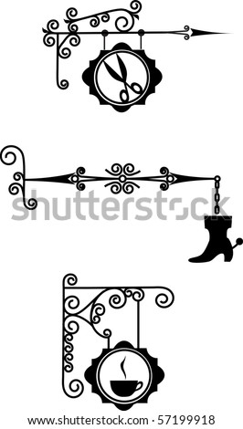 Ancient street signboard hairdresser's , boot repair and coffee - stock vector
