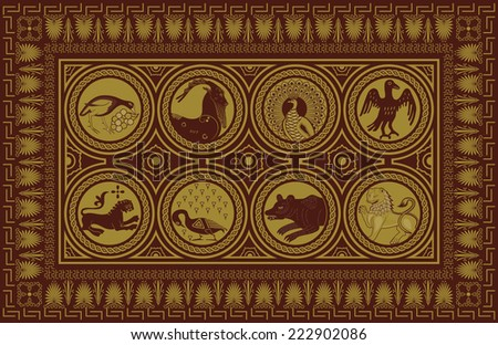 Ancient style carpet design - stock vector
