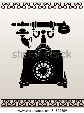 Ancient telephone stencil vector illustration for design - stock vector