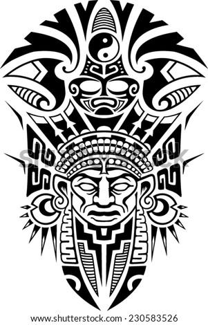 Ancient Tribal Mask Vector illustration - stock vector