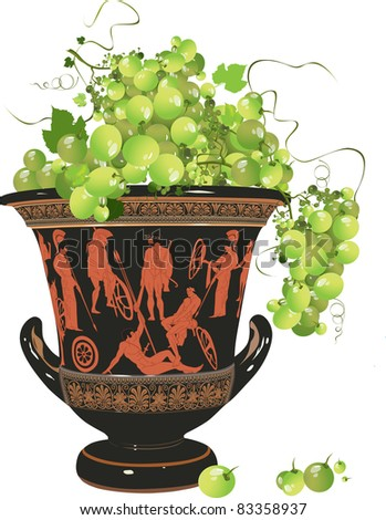 ANCIENT VASE with grapes